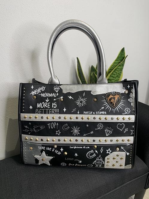 Shopper bag heart nero - Gio Cellini