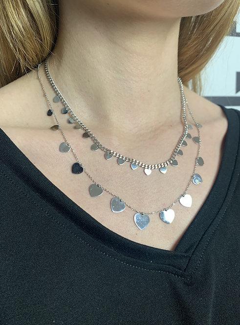 Collana maxi cuori argento