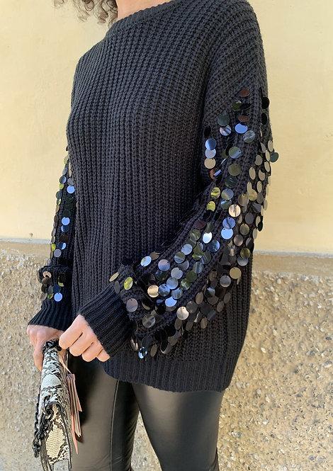 Maglione con perline nero - SH