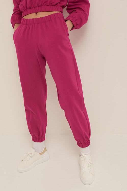 Pantalone felpa polsino amarena - Kikisix