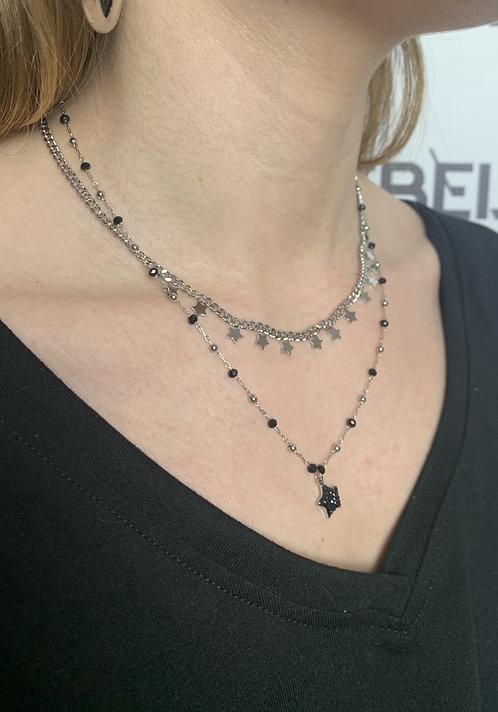 Collana stella argento con zirconi