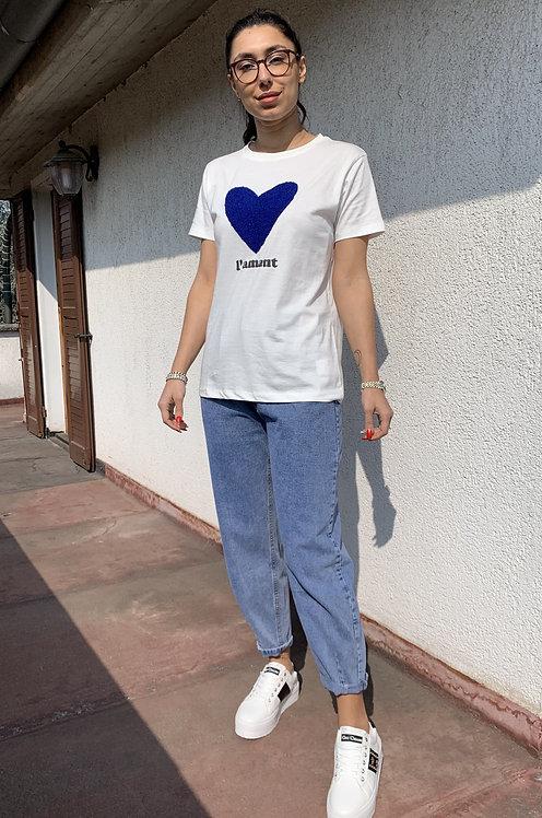 T-shirt cuore blu - CF