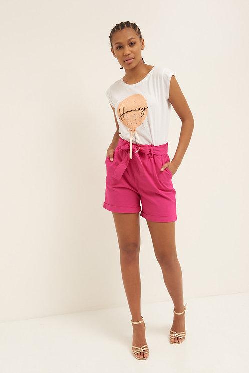 Short con cintura cotone fuxia - Kikisix