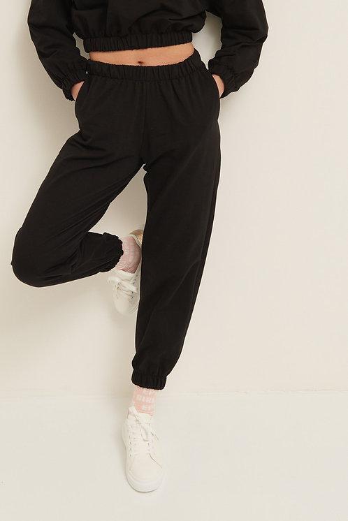 Pantalone felpa polsino nero - Kikisix