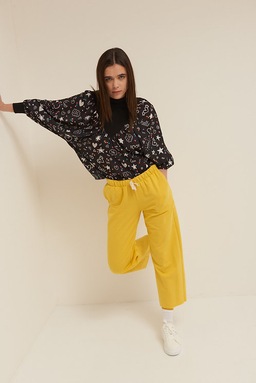 Pantalone felpa palazzo giallo - Kikisix