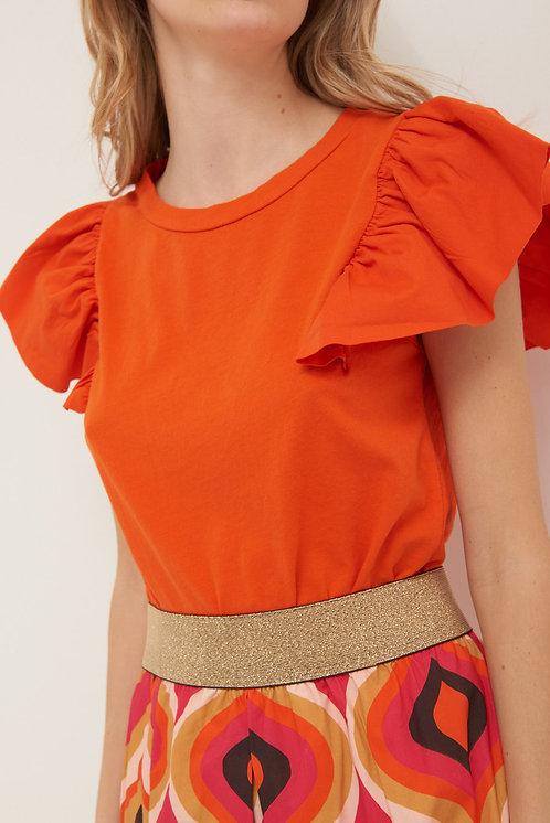 T-shirt con rouches arancio - Kikisix