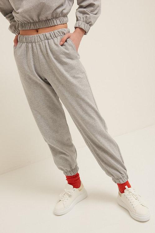 Pantalone felpa polsino grigio - Kikisix