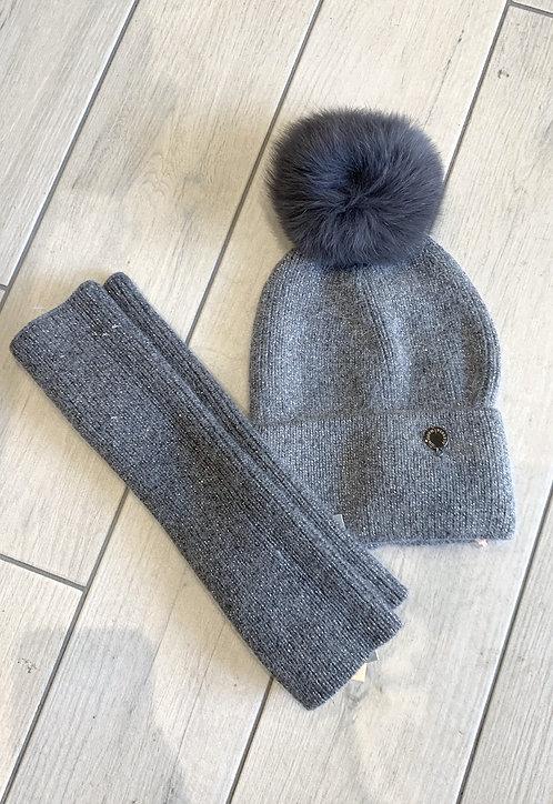 Set cappello+ manicotti grigio