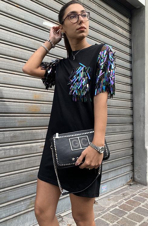 Maxi t-shirt con paillettes- SH