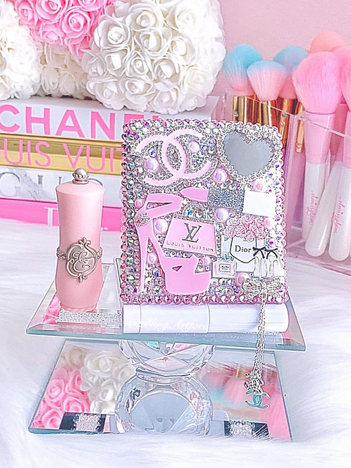 Pretty Pastel Pink Girly LED Compact  Mirror