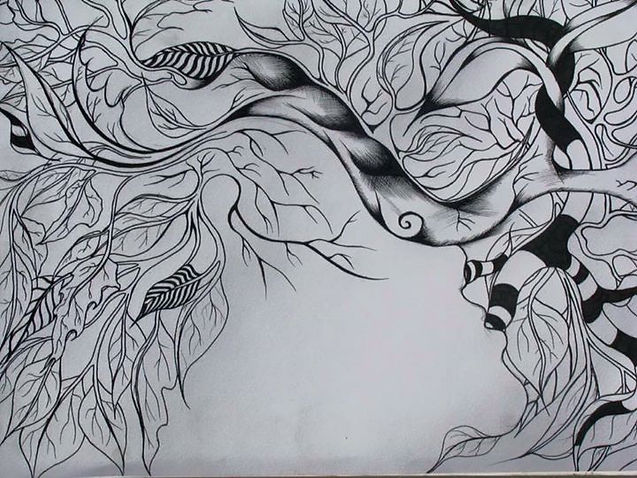 doodle on paper, abstract face in vines.