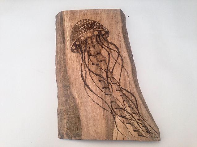 pyrography jellyfish on oak
