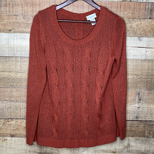 Soft Surroundings Front Cable Knit Sweater