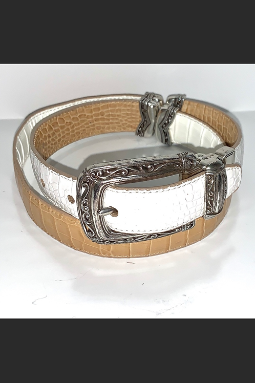Vintage Brighton Reversible Leather & Metal Belt