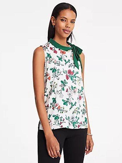 Ann Taylor Petite Floral Tie Neck Shell