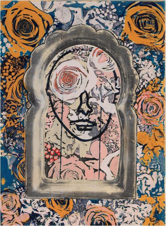 HIS TEARS ACRYLIC &PHOTOCOPY TRANSFER ON CANVAS,33.4X24.2cm,2011