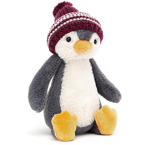 Bashful Bobble Hat Penguin Burgundy 18cm