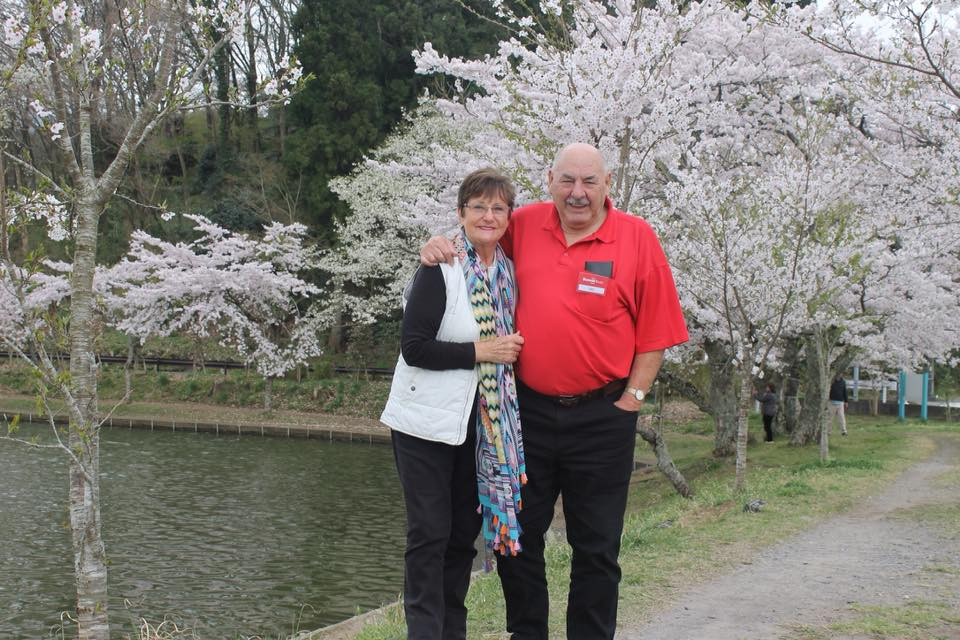 Mum and Dad enjoying the cherry blossoms today in Japan.