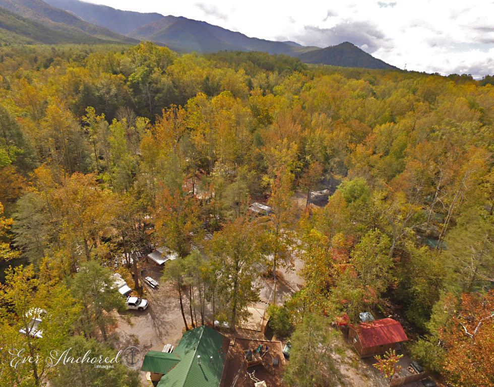 Aerial view of the campground resort and proximity to Smoky Mountains National Park