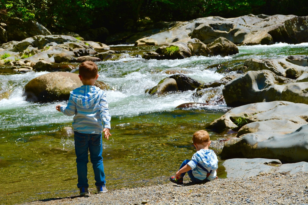 Kids playing near the Little Pigeon River at Greenbrier.