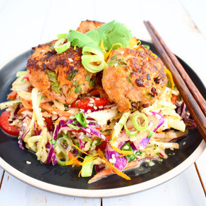 Pork and Ginger Meatballs with Citrus Asian Slaw (Paleo - Low Carb)