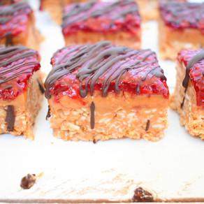 Peanut Butter + Raspberry Jam Squares