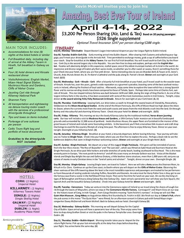 Kevin McKrell Ireland Tour April 4-14, 2