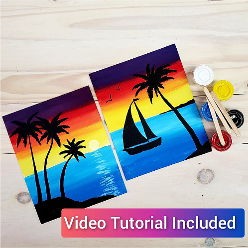 Tropical Sunset Double Canvas Partner Painting