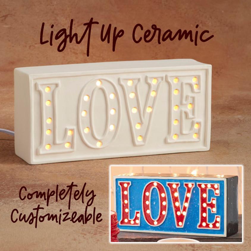 Ceramic Light Up LOVE sign