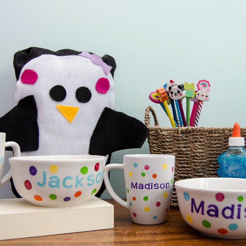 Mug and Bowl Kid's Painting Pizza Party $25