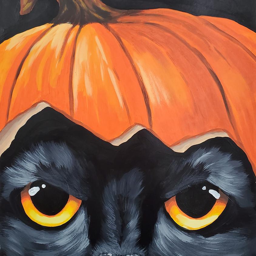 $25- Pumpkin Hat Cat Paint Night