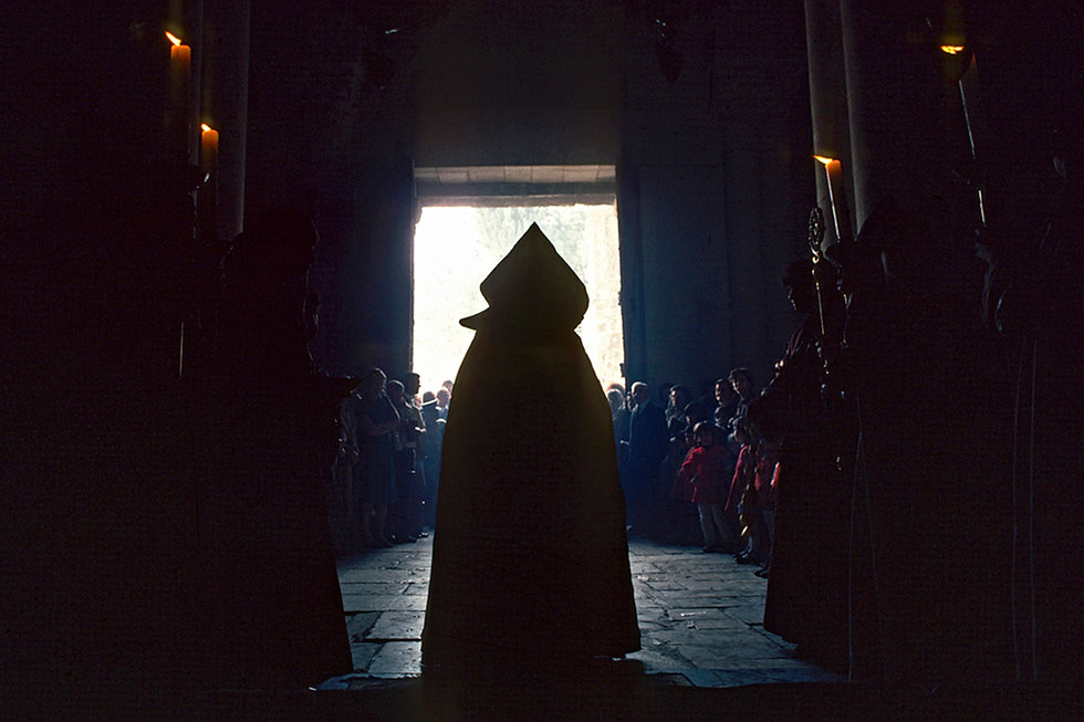 The Armenian Patriach entering the Church of the Holy Sepulchre, Jerusalem