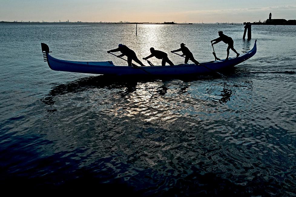 Gondola, training for the Regatta Storica, Venice