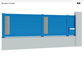 TENDANCE 2021  Coloris : RAL 5015 FT  Remplissage : Lame 240 x 22 mm ou 150 x 22 mm / Tôles Standards trous carrés  Bicoloration : Tôles en Argent Satiné  Boîte à lettres intégrée (en option)