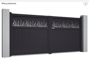 Coloris : RAL 5011 FT  Remplissage : Lames 150 (ou lames 240) I Tôles Herbe  Décor : Non  Bicoloration : Tôles Herbe Argentées I Modèle présenté : Tôle à la couleur du portail