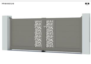 Coloris : RAL 7039 FT  Remplissage : Lames 240 (ou lames 150) I Tôles Lhassa  Décor : Non  Bicoloration : Tôles Designs Argentées I Modèle présenté :Tôles à la couleur du portail