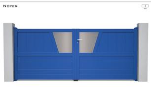Coloris : RAL 5017 S  Remplissage : Lames 240 I Tôles Standards  Décor : Possible  Bicoloration : Tôles Argentées