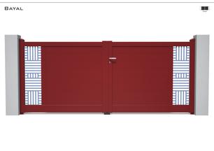 Coloris : RAL 3004 FT  Remplissage : Lames 150 I Tôles Bara  Décor : Non  Bicoloration : Tôles Bara Argentées I Modèle présenté : Tôle RAL 5014 S