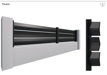 Coloris : RAL 9005 S  Remplissage : Lames Boomerang 180 - Espace 15 mm  Bicoloration : Possible