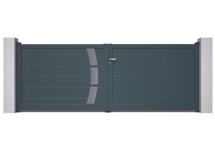 I Décor # 10 I                                                                     1 Ensemble Courbes sur les 2 faces  Hauteur minimun du portail : 1500 mm  Remplissage : Lames 240 (ou lames 150 )