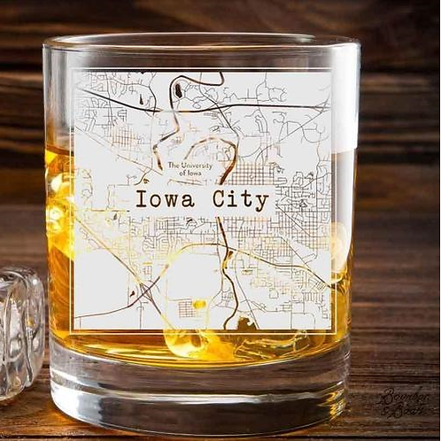 Iowa City Custom Whiskey Glass