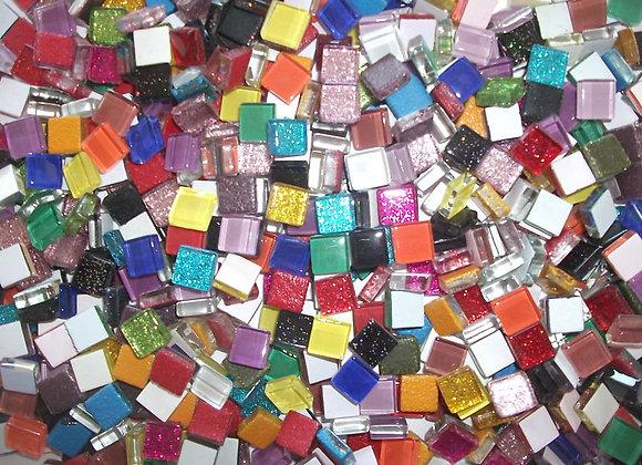 Rainbow Crystal & Glitter Tiles - 10 x 10mm