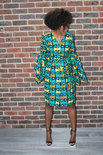 Leila Vert African print dress