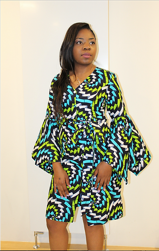 Leila graphic African print dress