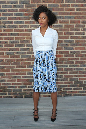 Bogolan African print pencil skirt