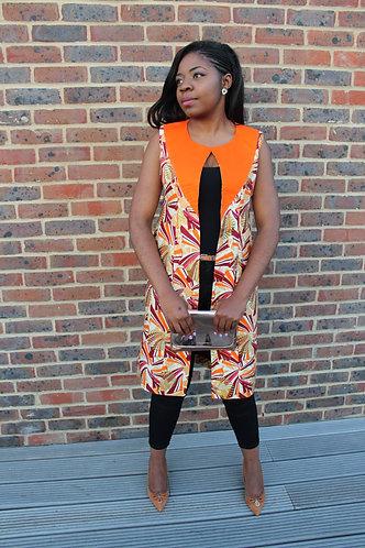 Coco Or et Orange African print waistcoat