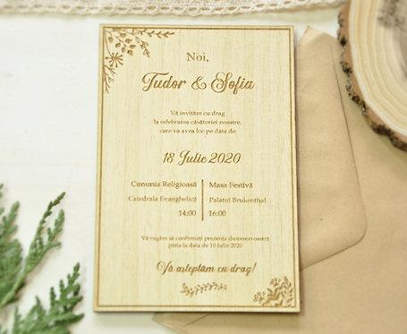 Invitație din lemn - Garden