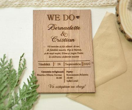 Invitație din lemn - Mahon