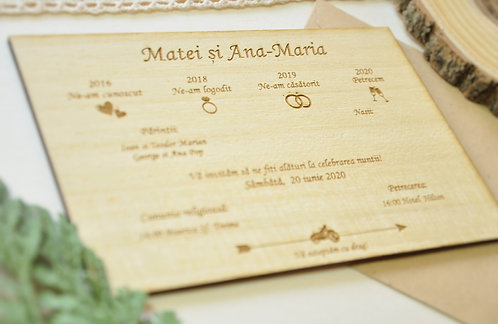 Invitație din lemn - Poveste