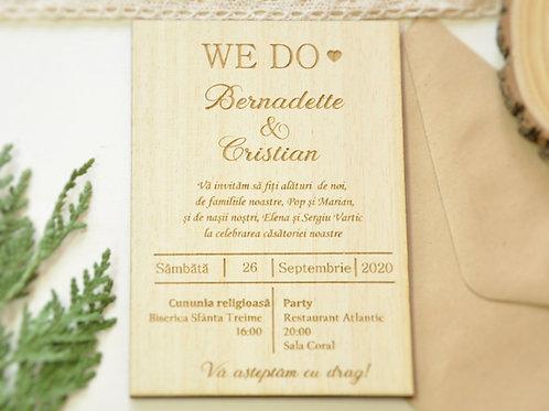 Invitație din lemn -We Do